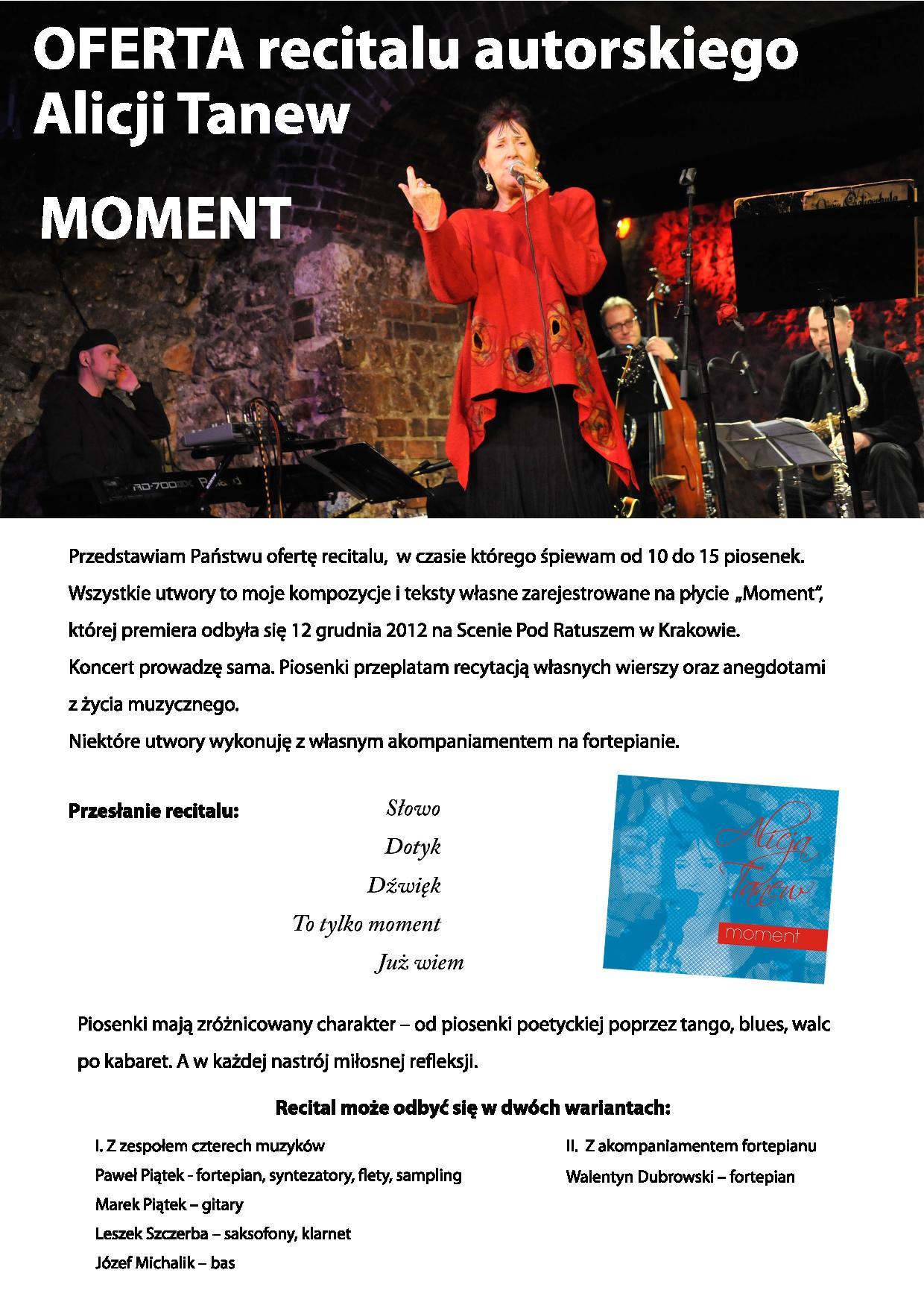 Oferta recitalu Moment