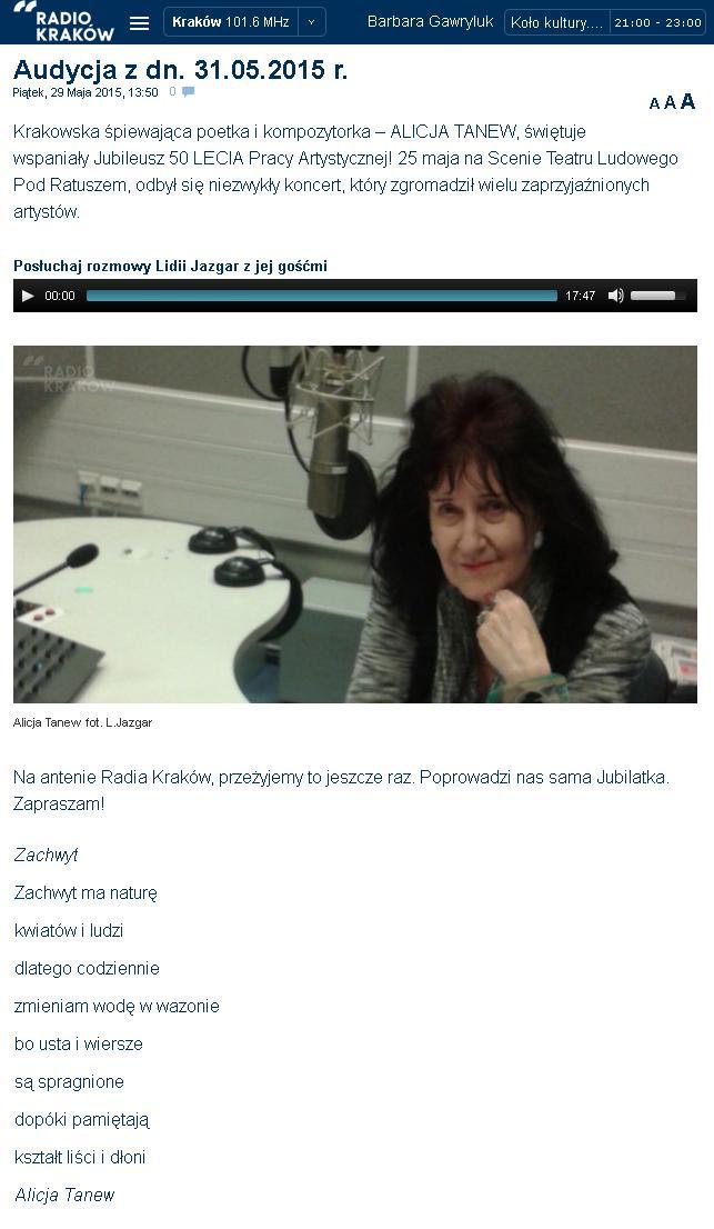 W Radiu Kraków po 50-leciu
